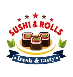 Japanese restaurant design element with maki sushi vector