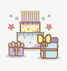 Line cake with gifts birthday celebration vector
