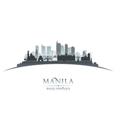 manila philippines city skyline silhouette white vector image