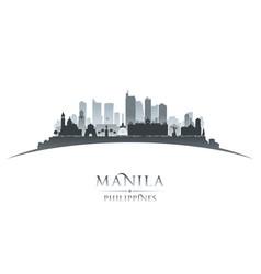 manila philippines city skyline silhouette white vector image vector image