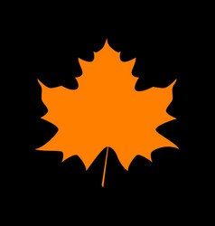 maple leaf sign orange icon on black background vector image