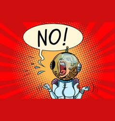 no screaming girl astronaut vector image vector image