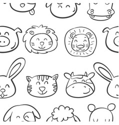 pattern animal head very cute vector image