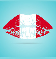 Peru flag lipstick on the lips isolated on a white vector