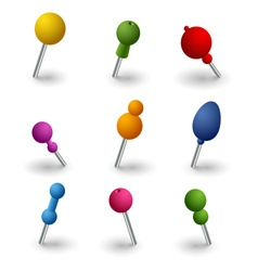 Set colored round pins web elements vector