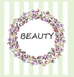 Set of makeup products female beauty accessories vector
