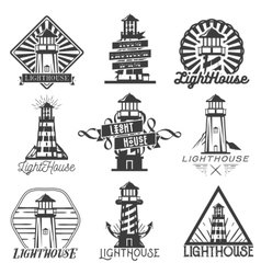 Set of vintage style lighthouses isolated vector