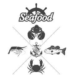 Set seafood symbols vector