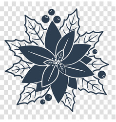 silhouette poinsettia flowers vector image vector image