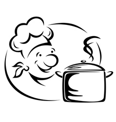 Smiling chef with saucepan vector image vector image