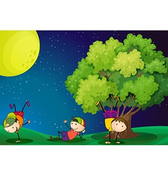 Three kids playing near the tree under the vector