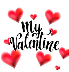 valentine lettering with hearts vector image