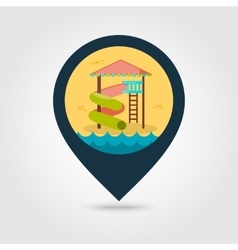 Water park summer slide beach pin map icon vector