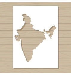 Stencil template of india map on wooden background vector
