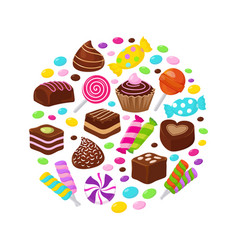 colourful fruit candies and chocolate sweets flat vector image