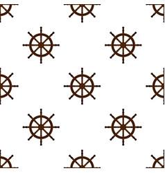 Ship handwheel helm marine seamless pattern vector