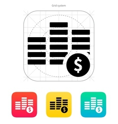 Stack with coins icon vector