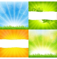 Green and orange backgrounds with sunburst vector
