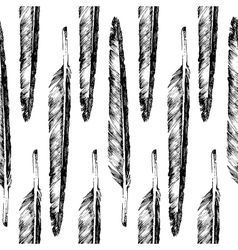 Hand drawn feather seamless vector
