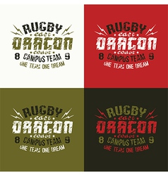 Campus rugby team emblem vector