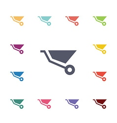 Wheelbarrow flat icons set vector