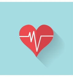 Heart rhytm cardiogramm medical flat icon vector image