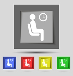 Waiting icon sign on original five colored buttons vector