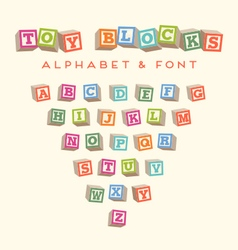 Alphabet blocks baby blocks font vector