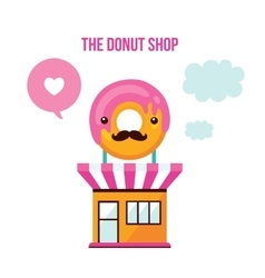 Cute donut shop facade food delicious dessert vector