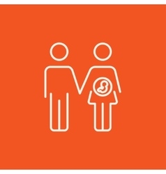Husband with pregnant wife line icon vector