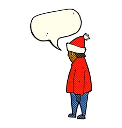 Cartoon person in winter clothes with speech vector