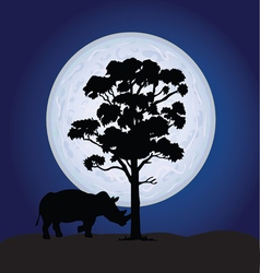 Rhino on a moonlight vector