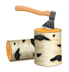 Ax with birch firewood vector