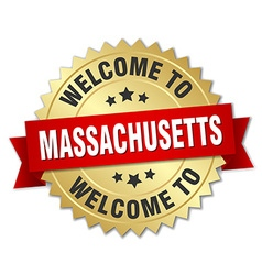 Massachusetts 3d gold badge with red ribbon vector