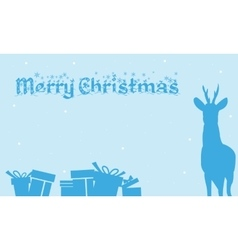 Merry christmas backgrounds gift and deer of vector