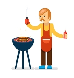 Barbecue man cook isolated background vector
