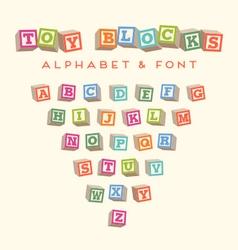 alphabet blocks baby blocks font vector image vector image