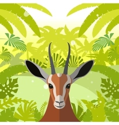 Antelope on the jungle background vector
