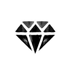 Black watercolor diamond vector
