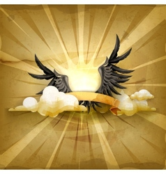 Black wings old style background vector image
