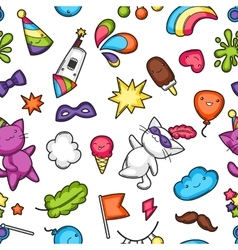 Carnival party kawaii seamless pattern Cute cats vector image vector image