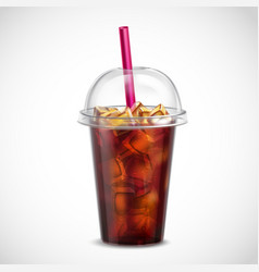 Cola with ice takeaway realistic vector