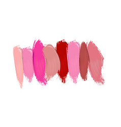 Collection of lipstick smears on white background vector