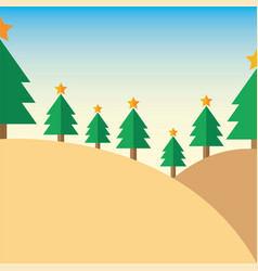 Design christmas tree on mountain vector