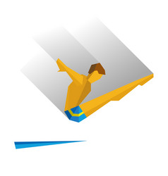 Diver jumping from a springboard vector