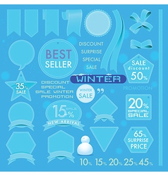 Element Blue sea Leather labels on Winter set vector image vector image