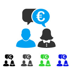 Euro chat flat icon vector