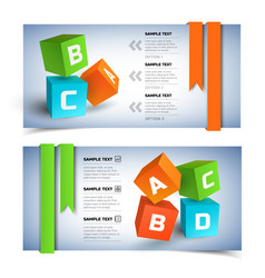 Geometric infographic horizontal banners vector