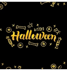 Halloween gold lettering over black vector