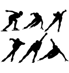 Ice Speed Skating Silhouette vector image